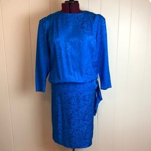 Vintage 80s/90s Long Sleeve Blue Silk Peplum Dress